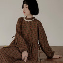 Dress Autumn 2020 Dark brown S (155cm), m (166cm) longuette singleton  Long sleeves Sweet Crew neck High waist lattice Socket Big swing bishop sleeve 18-24 years old Type X However, he Feng Bow, ruffle, hollow, pleated, pleated, Auricularia auricula More than 95% other solar system