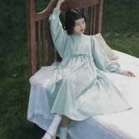 Dress Spring 2021 Green check S (model 155cm), m (shopkeeper 166cm), s (pre-sale), m (pre-sale) longuette singleton  Long sleeves Sweet Crew neck High waist lattice Socket A-line skirt puff sleeve 18-24 years old Type A However, he Feng Bowknot, tuck, lace up, button 51% (inclusive) - 70% (inclusive)