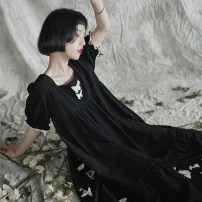 Dress Summer 2021 black One size fits all (pre sale) longuette singleton  Short sleeve Sweet square neck High waist Animal design Socket Big swing puff sleeve 18-24 years old Type H However, he Feng Bow, ruffle, cloth, three-dimensional decoration More than 95% cotton Lolita