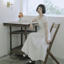 Dress Summer 2020 white S (155cm), m (166cm) Mid length dress singleton  Short sleeve Sweet square neck High waist Solid color Socket A-line skirt bishop sleeve Others 18-24 years old Type X However, he Feng Ruffles, folds, Auricularia auricula More than 95% cotton solar system