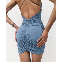 Dress Summer 2020 Purple, green, blue, red, gray, black XS,S,M Short skirt singleton  Sleeveless street One word collar High waist Solid color Socket One pace skirt camisole 18-24 years old Type H Hollowed out, open back, wrinkled 91% (inclusive) - 95% (inclusive) cotton Europe and America