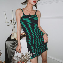 Dress Summer 2020 Green, red S,M,L Miniskirt singleton  Sleeveless street One word collar High waist stripe Socket One pace skirt routine camisole 18-24 years old 91% (inclusive) - 95% (inclusive) other cotton Europe and America