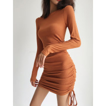 Dress Autumn 2020 S, M Short skirt singleton  Long sleeves street Crew neck High waist Solid color Socket One pace skirt routine 18-24 years old Type H Tuck, fold, lace, bandage More than 95% Europe and America