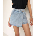 skirt Summer 2020 XS,S,M,L Short skirt street High waist Denim skirt Solid color Type A 18-24 years old 91% (inclusive) - 95% (inclusive) cotton Asymmetry, button Europe and America