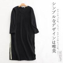 Dress Winter 2020 black Average size Mid length dress singleton  Long sleeves commute V-neck Loose waist Retro 30% and below other