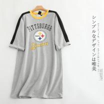 T-shirt Grey (random) XS,S,M,L,XL,2XL Summer 2021 Short sleeve Crew neck Straight cylinder Medium length Sweet other 30% and below college