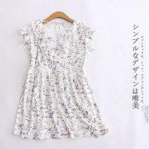 Dress Autumn of 2019 White flowers XS,S,M,L,XL Short skirt Short sleeve Sweet V-neck High waist Broken flowers Lotus leaf sleeve Other / other Mori