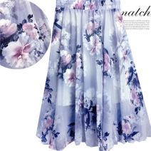 skirt Spring 2021 One size fits all (80 ~ 145 kg) elastic waist Mid length dress Versatile A-line skirt Decor Type A 18-24 years old 91% (inclusive) - 95% (inclusive) Chiffon other Bowknot, fold, three-dimensional decoration, stitching, printing