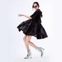 Dress Winter 2016 White, black Average size Short skirt singleton  Short sleeve street Crew neck middle-waisted Solid color Socket Big swing