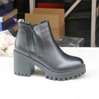 Boots top layer leather Other / other High heel (5-8cm) Thick heel top layer leather Short tube Round head Artificial short plush Artificial short plush Summer 2020 Sleeve Europe and America Composite bottom Color matching Fashion boots Adhesive shoes spring and autumn routine