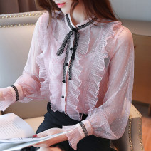 Lace / Chiffon Autumn of 2019 S,M,L,XL,2XL Long sleeves commute Socket singleton  easy Regular stand collar Solid color Lotus leaf sleeve 25-29 years old Korean version