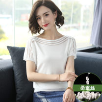 T-shirt White, black, apricot, blue, grapefruit red S,M,L,XL,2XL,3XL Summer 2021 Short sleeve One word collar easy Regular raglan sleeve commute silk 71% (inclusive) - 85% (inclusive) classic Solid color Mobile brother Hollowing out