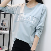 T-shirt S M L XL 2XL 3XL Autumn of 2018 Long sleeves Crew neck easy Regular routine commute cotton 86% (inclusive) -95% (inclusive) 18-24 years old Korean version literature Letter solid color splicing Macallan grand printing Cotton 93.5% polyurethane elastic fiber (spandex) 6.5%