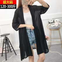 Lace / Chiffon Summer 2020 black 3XL (recommended 140-170 kg), 4XL (recommended 170-200 kg), 5XL (recommended 200-230 kg), 6xl (recommended 230-260 kg), 7XL (recommended 260-300 kg) three quarter sleeve other Cardigan singleton  Medium length Solid color routine 18-24 years old w20-330f