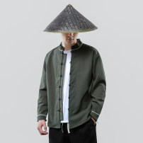 shirt Youth fashion Others M,L,XL,2XL,3XL,4XL,5XL Off white, black, army green Plush and thicken stand collar Long sleeves easy daily autumn youth Chinese style Solid color washing cotton Button decoration