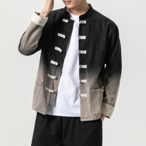 Jacket Other / other Youth fashion Black, green, orange M,L,XL,2XL,3XL,4XL,5XL routine easy Other leisure autumn Long sleeves Wear out stand collar Chinese style youth routine Single breasted 2019 Straight hem No iron treatment Closing sleeve Gradients Gradual change turnbuckle cotton