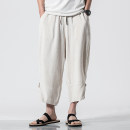 Casual pants Others Youth fashion Off white, grey, black, navy M,L,XL,2XL,3XL,4XL,5XL thin Cropped Trousers Other leisure easy No bullet summer youth Chinese style middle-waisted Beach pants washing Solid color hemp Cotton and hemp
