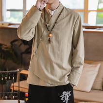 shirt Youth fashion Others M,L,XL,2XL,3XL Black, apricot routine No collar Long sleeves easy Other leisure autumn youth Cotton 60% flax 30% others 10% Chinese style 2019 Solid color hemp Button decoration Less than 30%