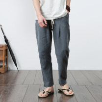 Casual pants Others Youth fashion M,L,XL,2XL,3XL,4XL,5XL routine trousers Other leisure easy No bullet spring youth Chinese style 2018 middle-waisted Little feet Haren pants Three dimensional tailoring washing Solid color hemp Cotton and hemp