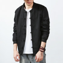 Jacket Other / other Youth fashion M,L,XL,2XL,3XL,4XL,5XL routine standard Other leisure autumn Long sleeves Wear out Baseball collar Chinese style youth routine Single breasted 2017 Rib hem washing Closing sleeve Solid color Button decoration Save pocket cotton