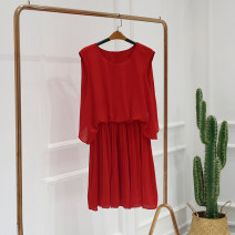 Dress Summer of 2018 RED-1 XL,L,M,S Middle-skirt singleton  Sleeveless Crew neck
