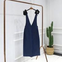 Dress Autumn of 2019 Dark Blue-1 S,M,L,XL Caipei