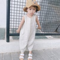 Jumpsuit / climbing suit / Khaki Qi Yue Class A neutral Sky blue, light brown, cherry pink, Beixing 80cm,90cm,100cm,110cm Cotton and hemp summer Sleeveless Long climb Korean version There are models in the real shooting Single breasted 12 months, 18 months, 2 years, 3 years, 9 months Chinese Mainland