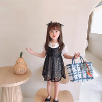 suit Grapefruit rabbit black 90cm,100cm,110cm,120cm,130cm female spring and autumn Korean version Sleeveless + skirt 2 pieces Thin money There are models in the real shooting Socket Dot Cotton blended fabric Expression of love Class B Other 100% Chinese Mainland Zhejiang Province Huzhou City