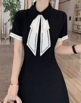Dress Summer 2021 Black, off white S,M,L,XL Middle-skirt singleton  Short sleeve commute Doll Collar middle-waisted Solid color zipper A-line skirt routine 25-29 years old Type A Splicing M1XL2955 other polyester fiber