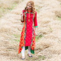 Dress Fall 2017 Red, sky blue S,M,L,XL,2XL longuette singleton  Long sleeves commute other High waist Decor Socket Big swing routine Others Type A indjump ethnic style Patch, print WL0006 More than 95% other cotton