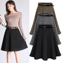 skirt Winter of 2019 M,L,XL,2XL,3XL,4XL,5XL,6XL Black, gray Short skirt Versatile High waist Pleated skirt Solid color Type A 25-29 years old w19-908c 30% and below Wool wool Resin fixation