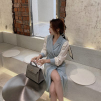 Dress Spring 2021 Sky blue [2735] in stock, sky blue [2735] pre-sale 13 days XXS,XS,S Mid length dress singleton  Long sleeves commute V-neck High waist double-breasted Irregular skirt puff sleeve Others Type H Korean version More than 95% other polyester fiber