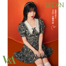 Dress Summer 2021 Green print green print full size dress gift box expected to be issued on April 20 S M L Short skirt Short sleeve High waist zipper A-line skirt puff sleeve 18-24 years old Type A Leting C1FAB2301 More than 95% polyester fiber Polyester 100%