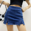 skirt Summer 2020 25,26,27,28,29 Dark blue, light blue, black Miniskirt street High waist skirt Solid color Type A 18-24 years old 31% (inclusive) - 50% (inclusive) other Europe and America