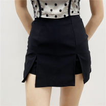 skirt Summer 2020 S,M,L black Short skirt Versatile High waist A-line skirt Solid color Type A 18-24 years old 31% (inclusive) - 50% (inclusive) other
