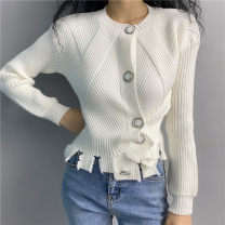 sweater Autumn 2020 Average size White, gray Long sleeves Cardigan singleton  Regular Polypropylene fiber 71% (inclusive) - 80% (inclusive) Crew neck Regular street routine Self cultivation 18-24 years old Single breasted