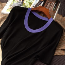 T-shirt Black / purple 2193 contrast collar short sleeve, black / orange 2193 contrast collar short sleeve M,L,XL Spring 2021 Short sleeve Crew neck Self cultivation Regular routine commute wool 96% and above Color block, solid Other / other