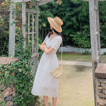 Dress Summer 2021 white lace  S,M,L Mid length dress singleton  Short sleeve commute V-neck High waist Solid color Socket A-line skirt puff sleeve Others Type A lady Hollowed out, embroidered, button, zipper MT-LYQ210324-05