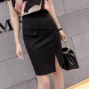 skirt Spring of 2018 S,M,L,XL,2XL black Short skirt commute High waist skirt Solid color Type H Other / other Zipper, open line decoration Korean version