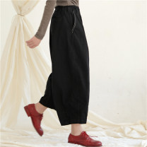 Casual pants black S,M,L Spring 2021 Ninth pants Wide leg pants Natural waist commute thickening 25-29 years old 96% and above K5560 Ma Lin cotton literature pocket cotton