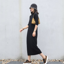 Dress Summer 2021 Plain black S,M,L longuette singleton  Nine point sleeve commute Crew neck Loose waist Socket routine Others 30-34 years old Ma Lin literature L3296 More than 95% cotton