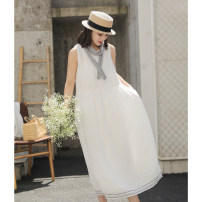 Dress Summer 2021 Benbai S,M,L longuette singleton  Sleeveless commute Crew neck Loose waist Solid color Socket Big swing other Others 30-34 years old Type A literature L5088 More than 95% hemp
