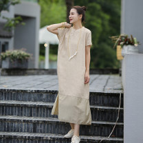 Dress Summer 2020 Light card tea S,M,L longuette singleton  elbow sleeve commute stand collar Loose waist Solid color Socket Others 30-34 years old Ma Lin literature L3199 More than 95% hemp