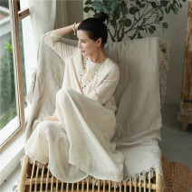 Dress Spring 2021 Apricot S,M,L longuette singleton  three quarter sleeve commute Crew neck Loose waist Solid color Socket Big swing routine Others 30-34 years old Type A Ma Lin literature More than 95% hemp