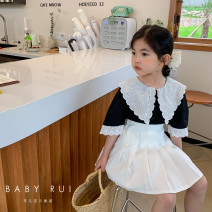 suit Other / other Black shirt, white pleated skirt female summer Korean version Short sleeve + skirt There are models in the real shooting Single breasted nothing Solid color other children birthday Three, four, five, six, seven, eight, nine, ten, eleven, twelve