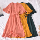 Dress Summer 2020 Green, yellow, orange, violet, red Average size Mid length dress singleton  Short sleeve commute V-neck High waist Solid color Socket A-line skirt Lotus leaf sleeve Others 18-24 years old Type A Korean version Fold, print Guangli-3321 clear color V-neck Short Sleeve Dress other