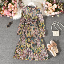 Dress Autumn 2020 Decor Average size longuette singleton  Long sleeves commute stand collar High waist Decor Socket A-line skirt routine Others 18-24 years old Type A Korean version Fold, print 30% and below other polyester fiber