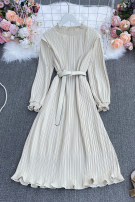 Dress Spring 2021 Apricot, dark blue, khaki, pink, black Average size longuette singleton  Long sleeves commute stand collar High waist stripe Socket A-line skirt routine Others 18-24 years old Type A Korean version Frenulum Wang rong-1128 pure color folding long sleeve dress with belt 30% and below