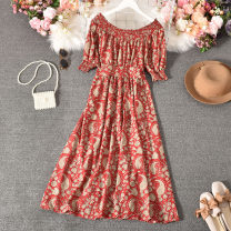 Dress Summer 2020 Average size longuette singleton  Short sleeve commute One word collar High waist Decor Socket A-line skirt routine Others 18-24 years old Type A Korean version printing 30% and below other polyester fiber