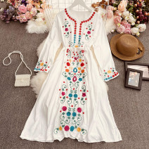 Dress Autumn 2021 White, red, light purple, yellow, dark blue Average size longuette singleton  Long sleeves commute Crew neck High waist Decor Socket A-line skirt routine Others 18-24 years old Type A ethnic style Embroidery, fold Qin'er-9361 embroidered long sleeve dress 30% and below other